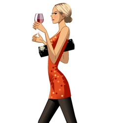 Blond party girl with drink vector