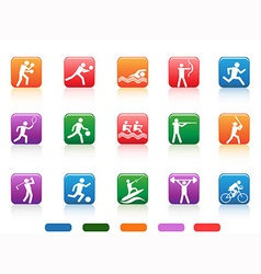 Sports people buttons vector