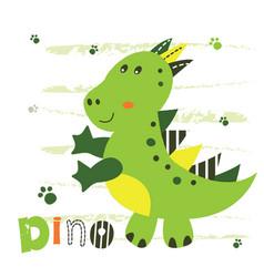 With cute little dinosaur vector