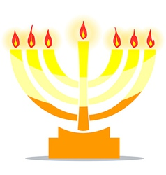 Jewish lamp menora with lights vector