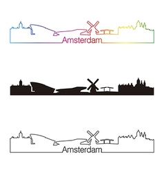 Amsterdam skyline linear style with rainbow vector