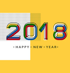 2018 happy new year memphis style numbers vector image