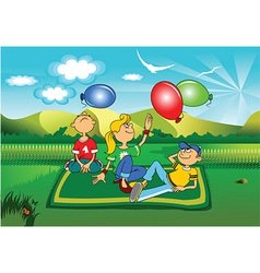 Children in the park cartoon vector image