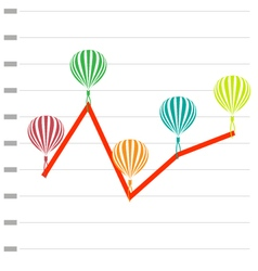 Business graph with balloon vector