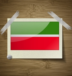 Flags tatarstan at frame on wooden texture vector