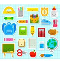 Cute school items vector