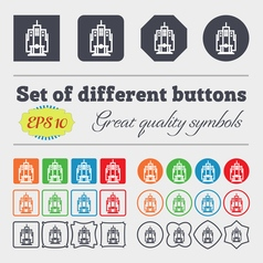 Skyscraper icon sign big set of colorful diverse vector