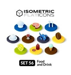 Isometric flat icons set 56 vector