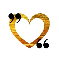 Gold heart quotation mark speech bubble vector