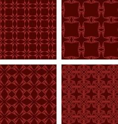 Maroon seamless triangle pattern wallpaper set vector