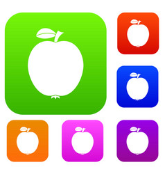 black apple set collection vector image