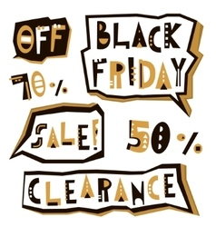 Black Friday sale design elements in geometric vector image vector image