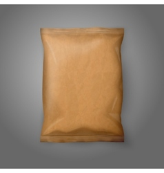 Blank realistic craft paper snack pack isolated on vector