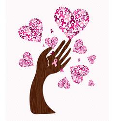 Breast cancer awareness love ribbon hand tree art vector