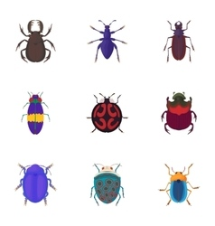 Bugs icons set cartoon style vector