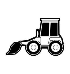 bulldozer flat icon black silhouette vector image