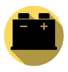 Car battery sign flat black icon with vector