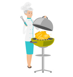Caucasian chef cooking chicken on barbecue grill vector