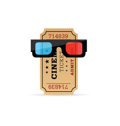 Cinema ticket with 3d movie glasses vector