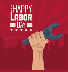Colorful poster of happy labor day with red vector