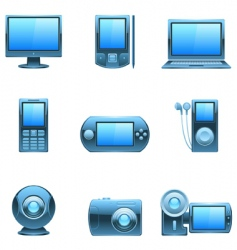 Computer and media icons vector