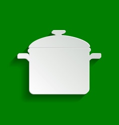 Cooking pan sign paper whitish icon with vector