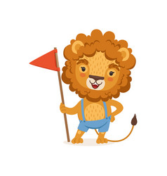 Cute cartoon lion character standing with flag in vector