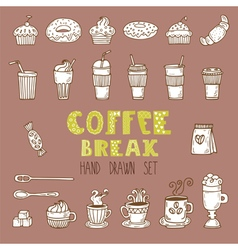 Doodle set hand drawn coffee elements coffee break vector