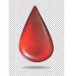 Drop of red blood on transparent background vector