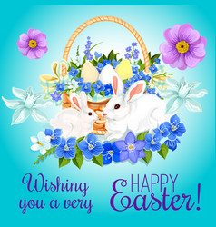 Easter paschal card eggs and bunny greeting vector