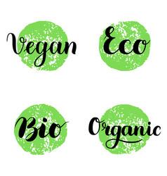 eco bio organic vegan lettering modern hand vector image vector image
