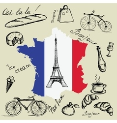 Eiffel tower map and flag of France and the main vector image
