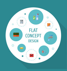flat icons means for cleaning laundromat faucet vector image vector image