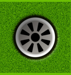 Golf hole on field vector
