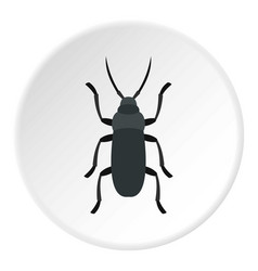 gray bug icon circle vector image