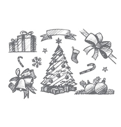 Hand drawn set of Christmas decoration elements vector image vector image