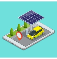 Mobile gps navigation electric car charging vector