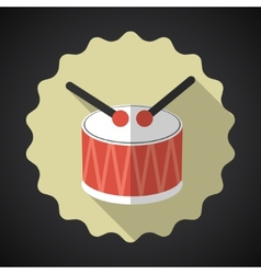 Music Snare Drum with Sticks Flat Icon vector image vector image