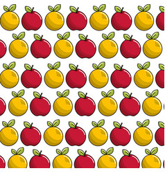 Natural apple and orange fruit background icon vector