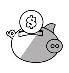 piggy money safety bank shadow vector image vector image