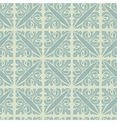 Retro silver blue vintage floral seamless pattern vector