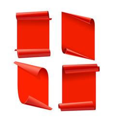 ribbons set realistic red glossy paper ribbon vector image vector image