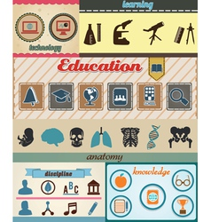 Set of retro education icons with vintage vector image vector image