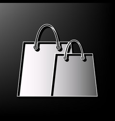 shopping bags sign gray 3d printed icon vector image vector image