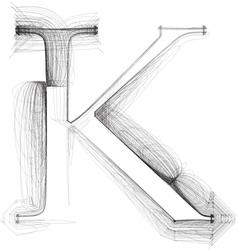 Sketch font letter k vector