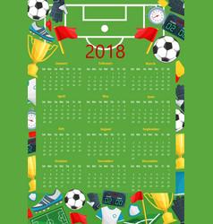 Soccer calendar template of football sport game vector