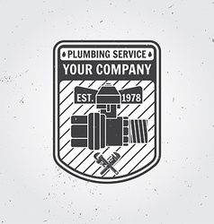 Vintage plumbing service badge banner or logo vector
