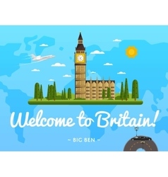 Welcome to Britain poster with famous attraction vector image