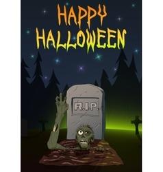 Zombie pulls hand up invitation happy halloween vector