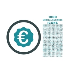 Euro Reward Seal Rounded Icon with 1000 Bonus vector image